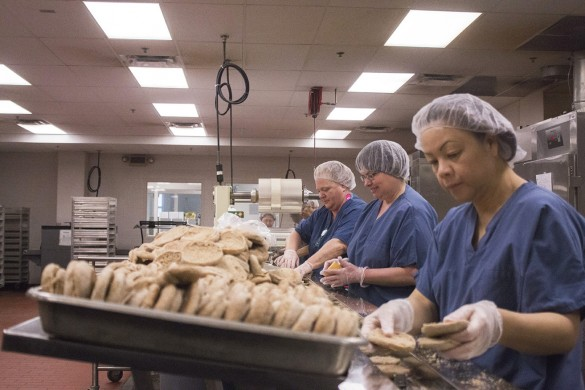 Des Moines Public Schools' central kitchen is housed int he old Colonial Bakery on Des Moines' north side. The district is no stranger to the epidemic of hunger and food insecurity in the Midwest. Photo by Cole Norum.