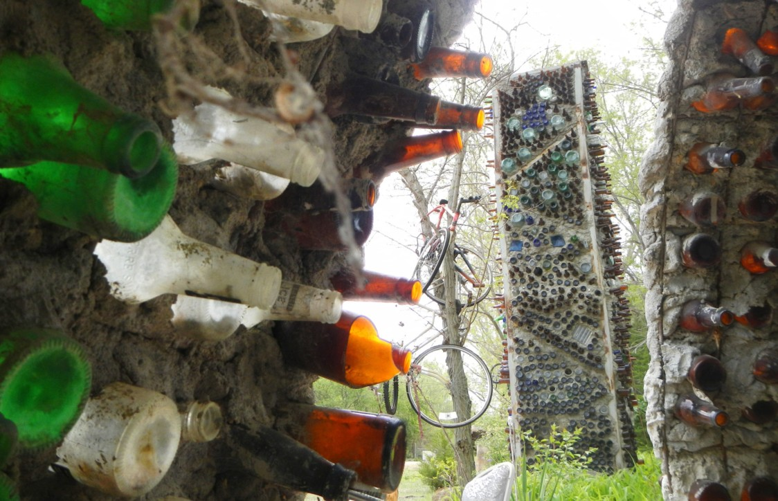 """According to Lessman, the bottles for Beer Bottle City all came from one party. If the wind is blowing right, it will """"talk,"""" and is always lit up for parties and holidays."""