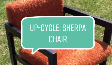 """An orange chair with """"Up-cycle: Sherpa Chair"""" text over it"""