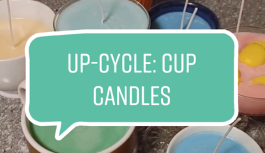 Image of candles made out of cups with the text UP-Cycle: Cup Candles