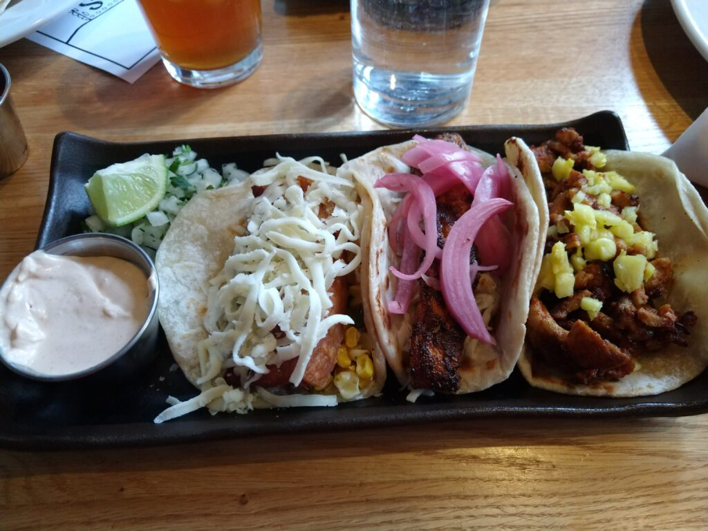 Tacos at MALO from left to right- Pork Belly, Grilled Mahi-Mahi, and Al Pastor