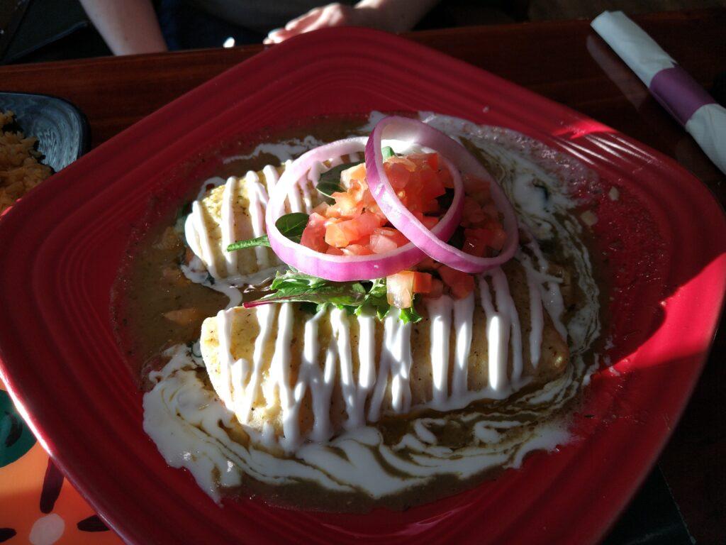 Spinach Enchiladas from El Molcajete