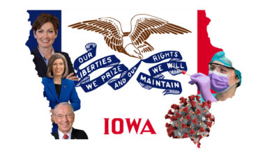 The Iowa state flag surrounded by images of the governor, senators, a COVID-19 cell, and a medical professional.