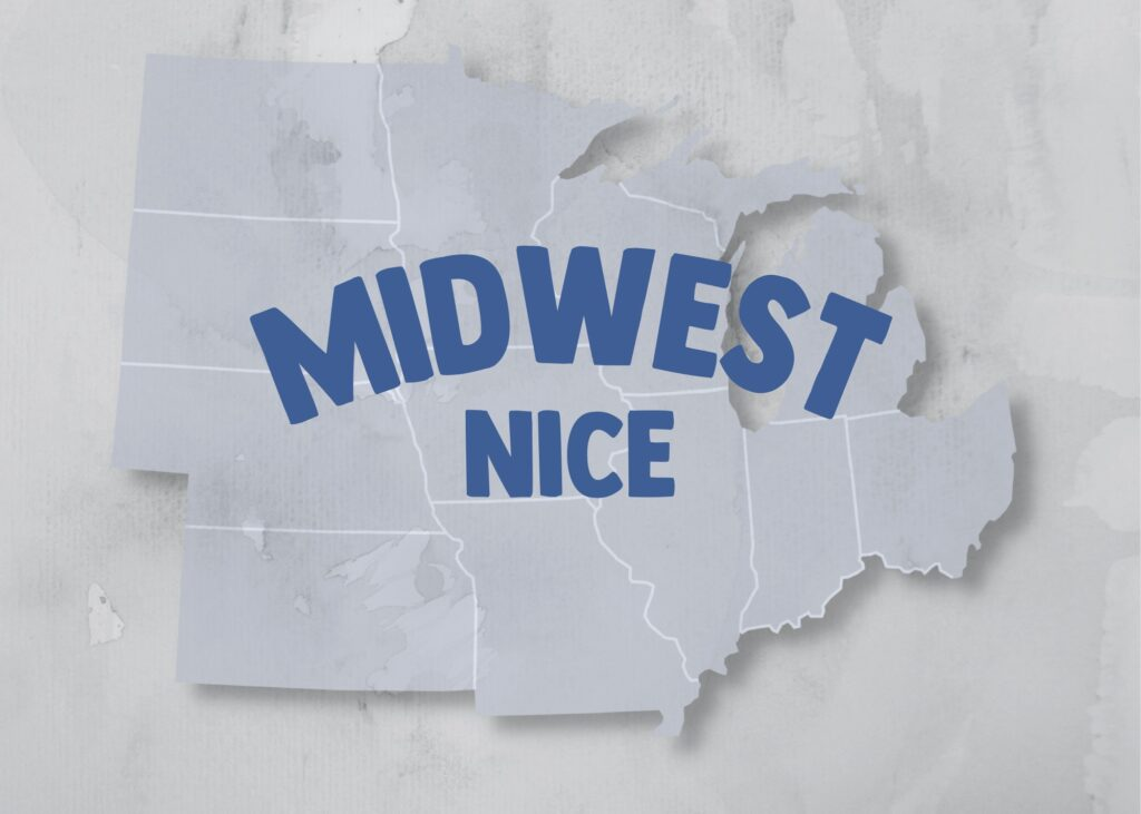 """A white outline of the Midwest States with """"Midwest Nice"""" typed over in blue."""