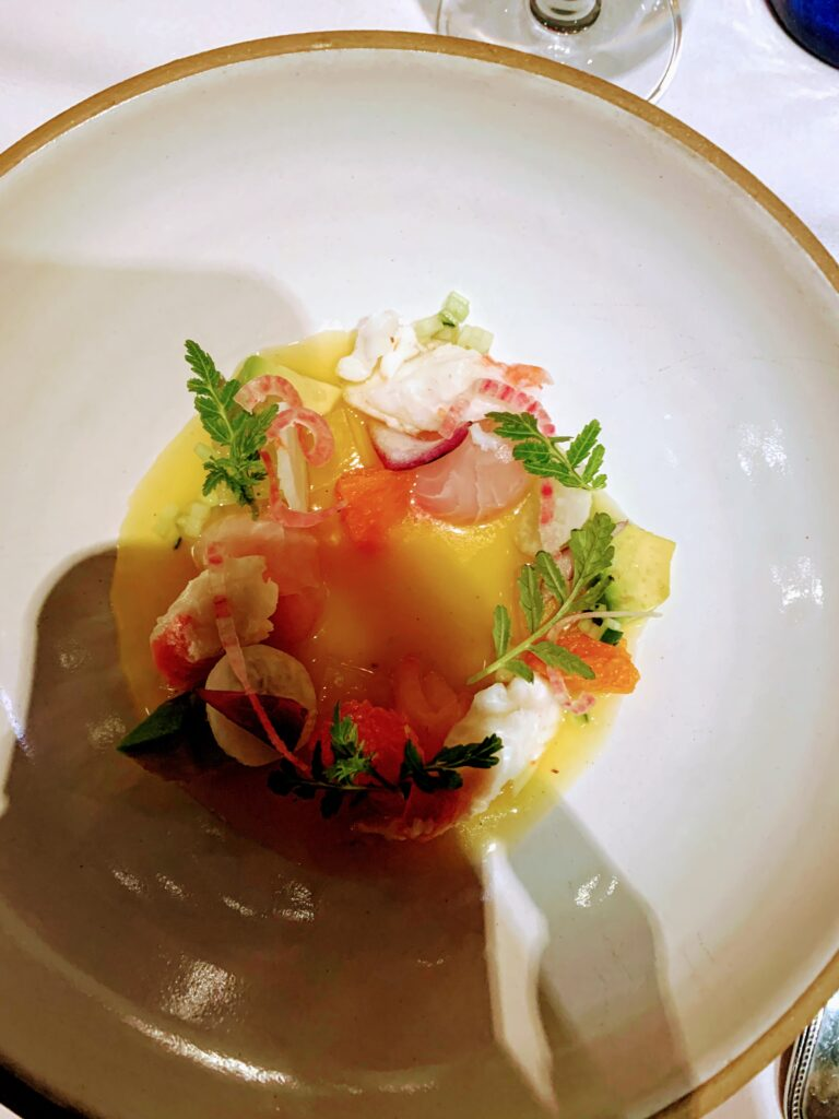 Ceviche with Habanero-Orange Juice and Citrus Jewels Served at Topolobampo